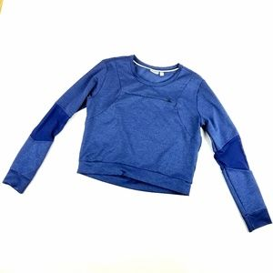 Womens Zella Blue Athletic Crop Long Sleeve Top